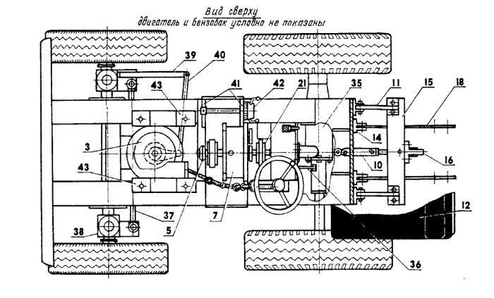 Схема конструкции самодельного минитрактора из мотоблоках
