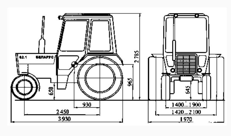 Размеры трактора МТЗ-82